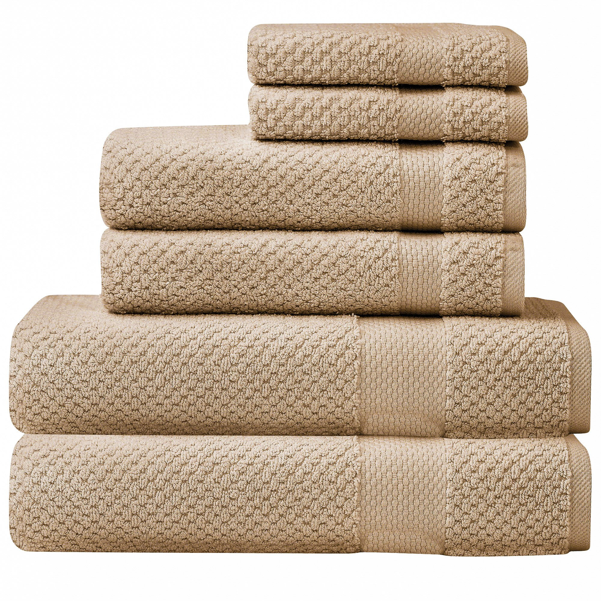 SALBAKOS : 6 piece Oviedo Bath Towel Set - 600gsm Premium Turkish Cotton (Beige)