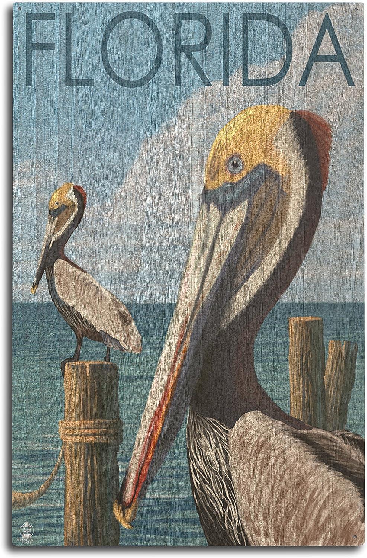 Lantern Press Florida - Brown Pelicans (10x15 Wood Wall Sign, Wall Decor Ready to Hang)