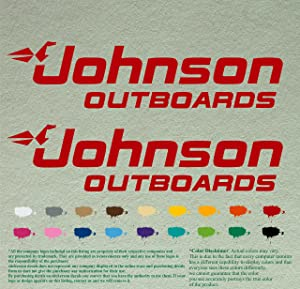 """Pair 12"""" Johnson outboards Decals Vinyl StickersRed Vinyl Stickers Boat Outboard Motor Lot of 2"""