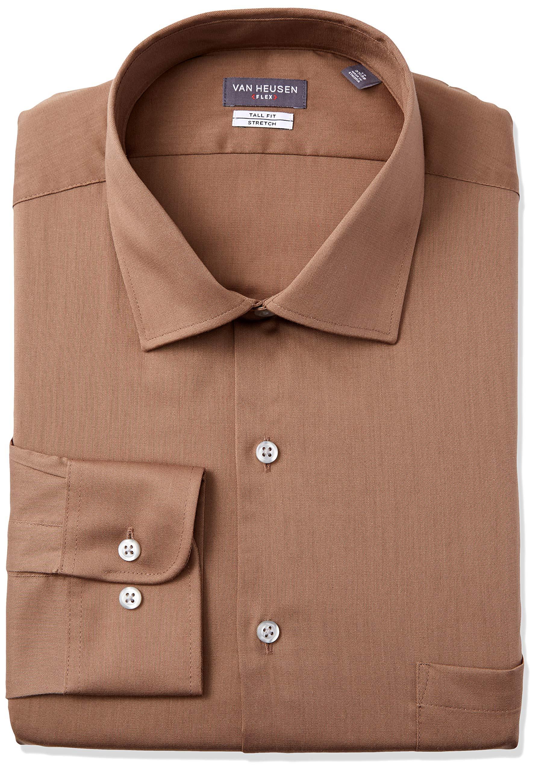 Izod Mens TALL FIT Dress Shirts Stretch Solid Big and Tall