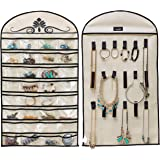 MISSLO Hanging Jewelry Organizer Holder 32 Pockets 18 Loops for Accessories Storage, Beige