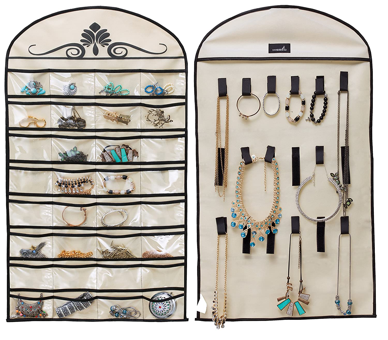5b895dc12 MISSLO Hanging Jewelry Organiser Holder 32 Pockets 18 Loops for Accessories  Storage (Beige): Amazon.co.uk: Kitchen & Home