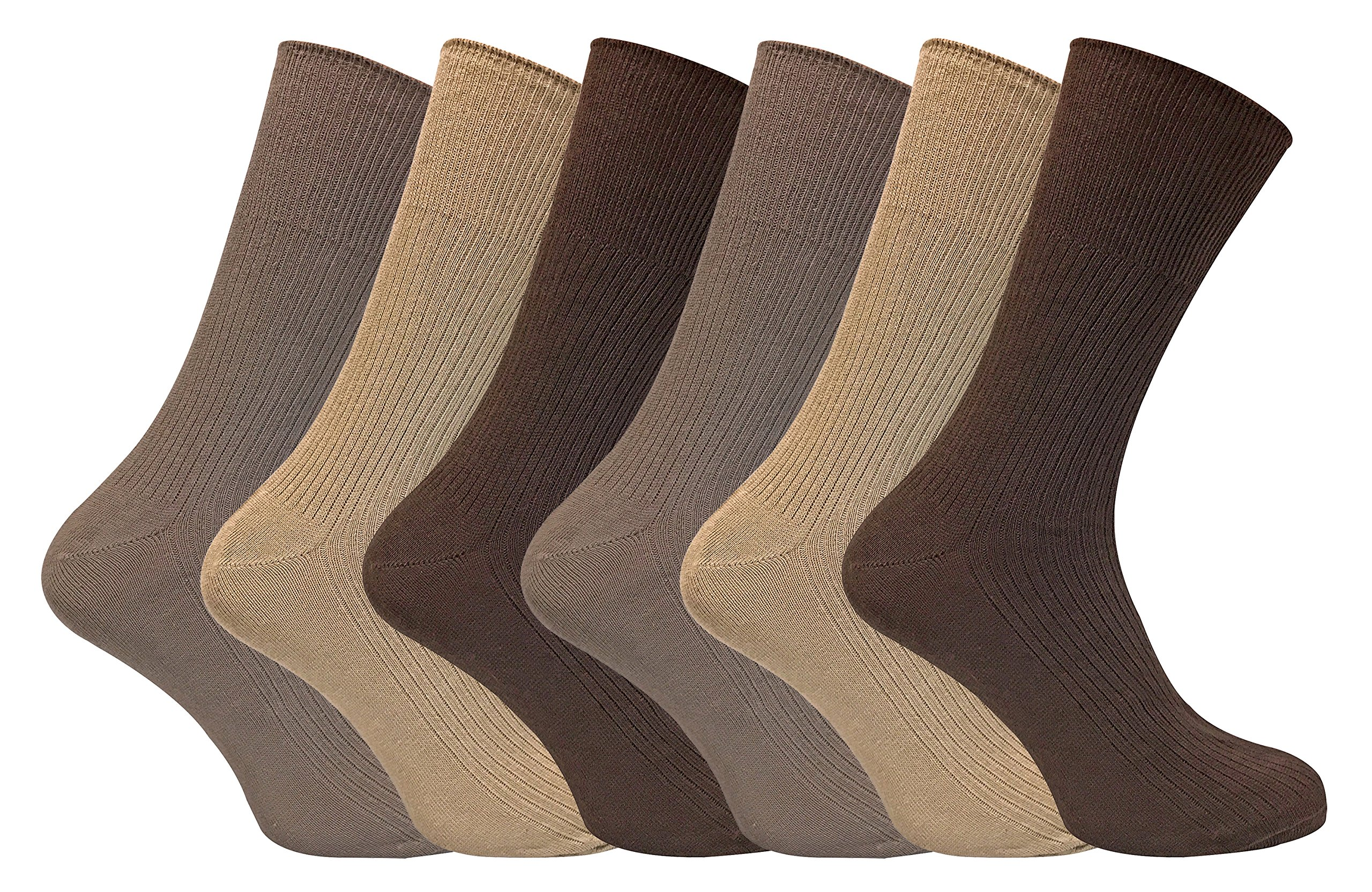 6 Pack Mens 100% Cotton Non Binding Loose Top Lightweight Ribbed Dress Socks (7-12 US, TSFD02)