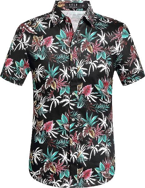 Beste Marke AIDEAONE Herren Hawaii Hemd Strand Kurzarm Knopf