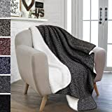 PAVILIA Premium Fleece Sherpa Throw Blanket for Couch, Sofa | Soft, Cozy, Reversible, Lightweight Microfiber | Melange Two-Tone Knit for All Season Use (50 x 60 inches, Dark Charcoal Gray)