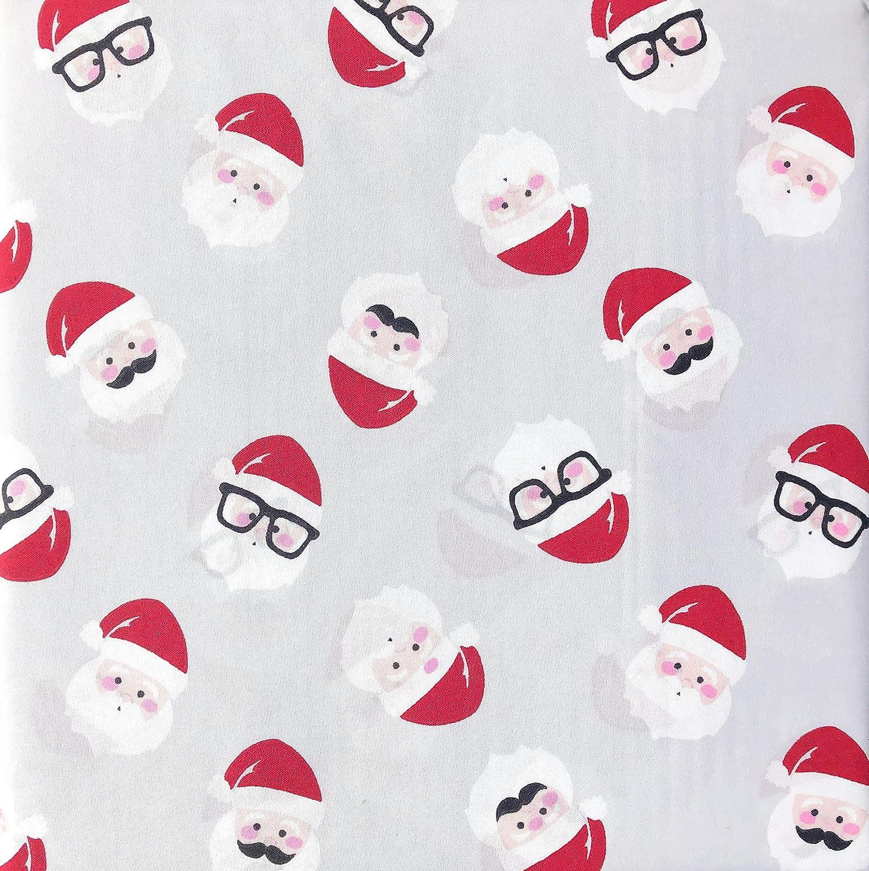Cynthia Rowley 4 Piece Full Size Sheet Set Happy Christmas Santa Claus Faces