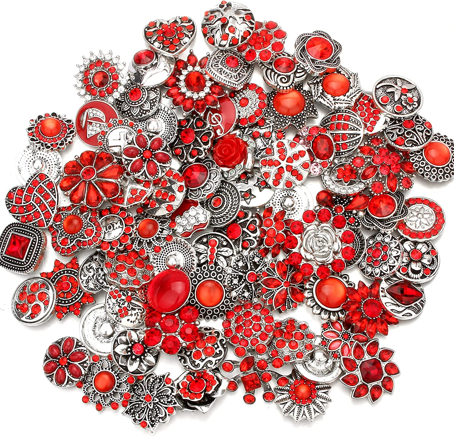 Blue Ginooars 10PCs Mixed Style Rhinestones Snaps Buttons 18//20mm for Interchangeable Snaps Jewelry