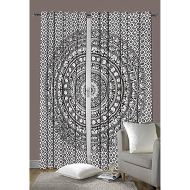 Madhu International Indian Cotton Elephant Mandala Window Door Cover Curtain Hanging Drape Portiere