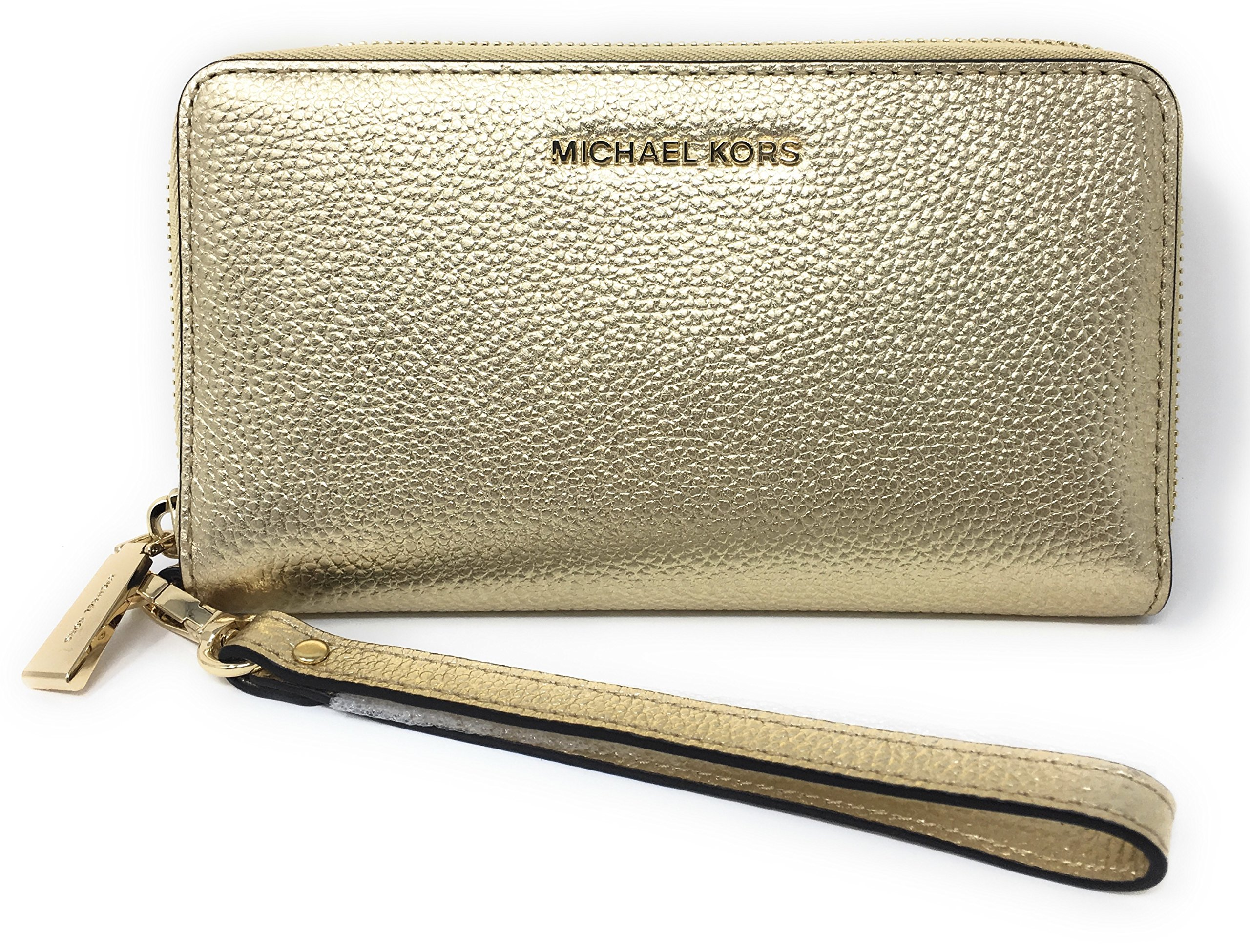 Michael Kors Large Flat Multifunction Phone Case Leather Wristlet (Pale Gold)