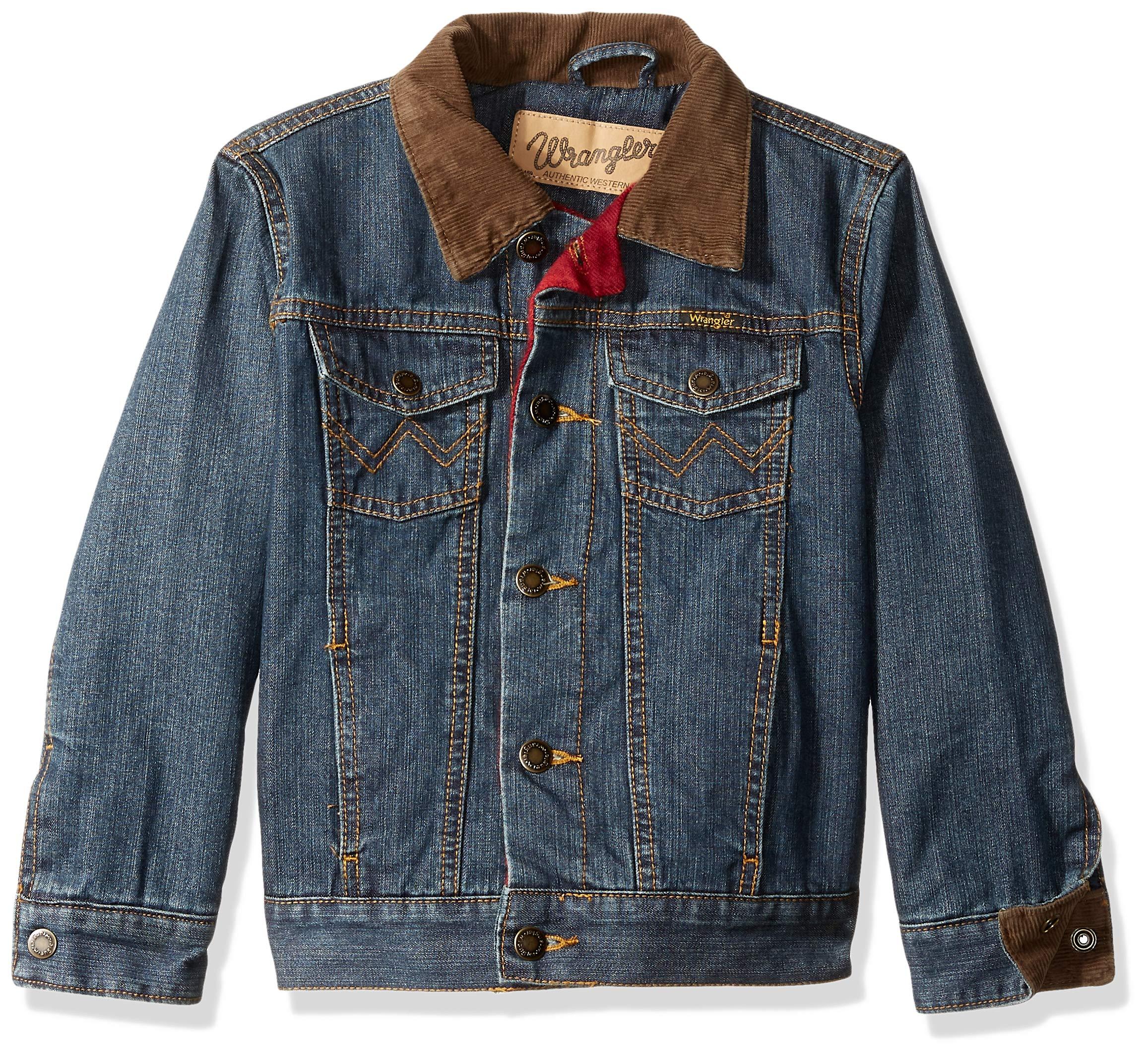 Wrangler Boys' Lined Denim Jacket, rustic blue XS
