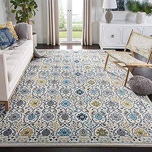 Safavieh Evoke Collection EVK210C Non-Shedding Stain Resistant Living Room Bedroom Area Rug, 4' x 6', Ivory / Blue