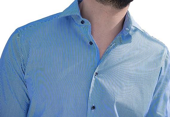 LeVele camisa de hombre azul con rayas blanca (43): Amazon.es ...