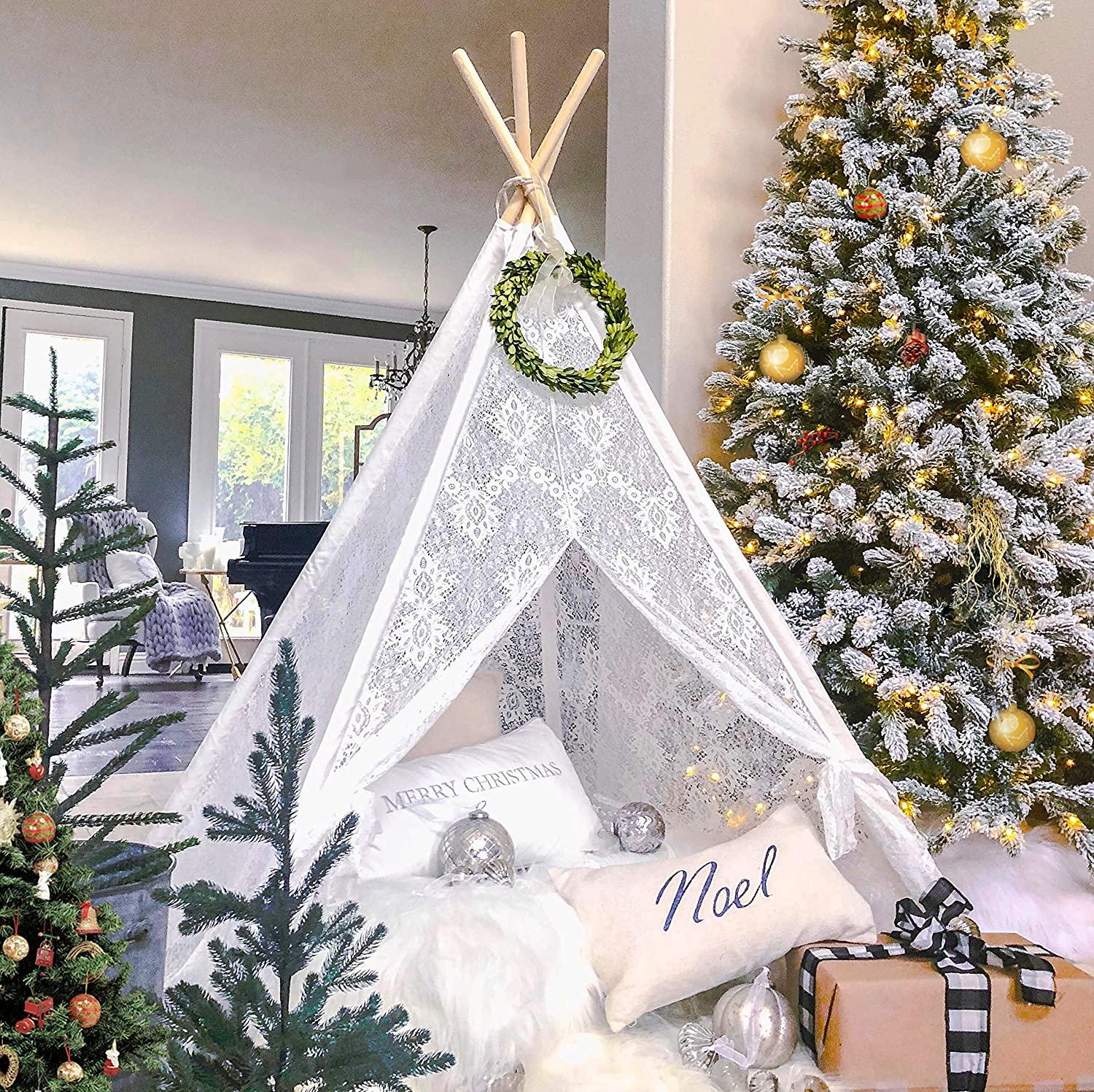 Kids Teepee Tent for Girls, Sheer Lace Indoor and Outdoor Canopy and Creative Play Space