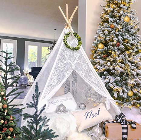 finest selection fa096 fe29f Tiny Land Kids Teepee Tent for Indoor Outdoor Children Play Tent Boho Lace  Tipi (150cm tall)