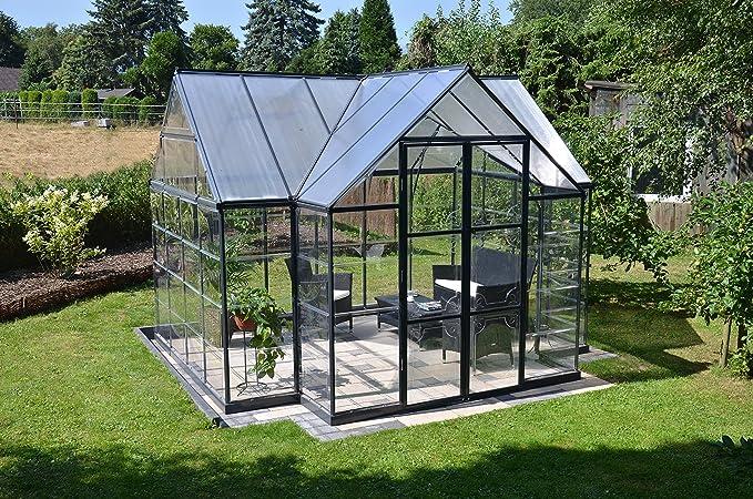 Palram 702422 12 x 10 FT Victoria Orangerie Invernadero y Sun Lounge – Gris Oscuro: Amazon.es: Jardín