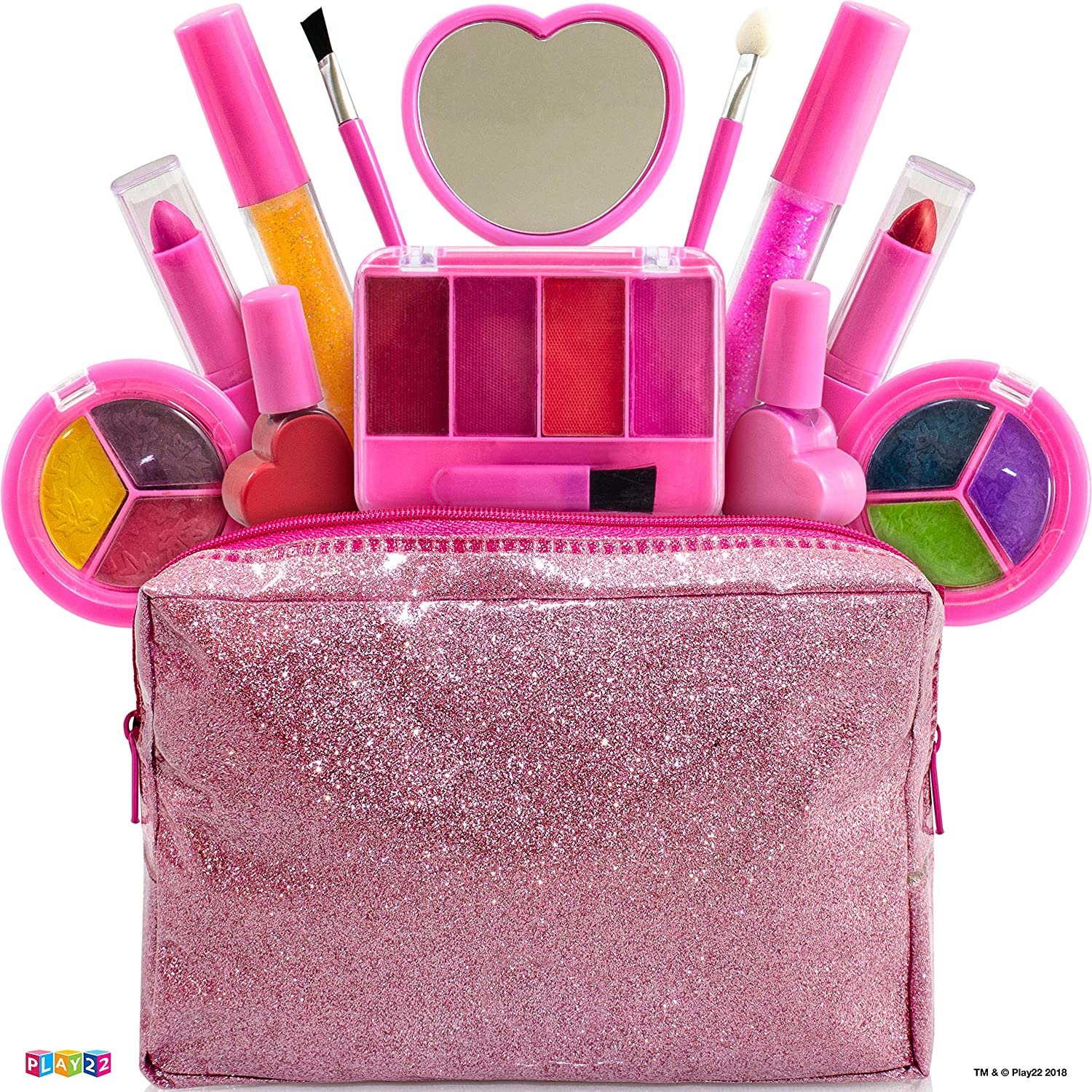 Kids Makeup Kit For Girl – 13 Piece Washable Kids Makeup Set My First Princess Make Up Kit Includes Blush, Lip Gloss, Eyeshadows, Lipsticks, Brushes, Mirror Cosmetic Bag Best Gift For Girls Original