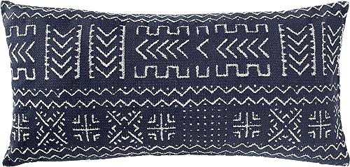 Amazon Brand Rivet Mudcloth-Inspired Decorative Throw Pillow, 12 x 24 , Navy