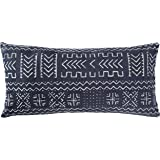 "Amazon Brand – Rivet Mudcloth-Inspired Decorative Throw Pillow, 12"" x 24"", Navy"