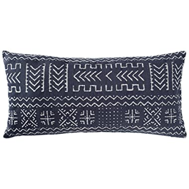 Rivet Mudcloth-Inspired Pillow, 12  x 24 , Navy