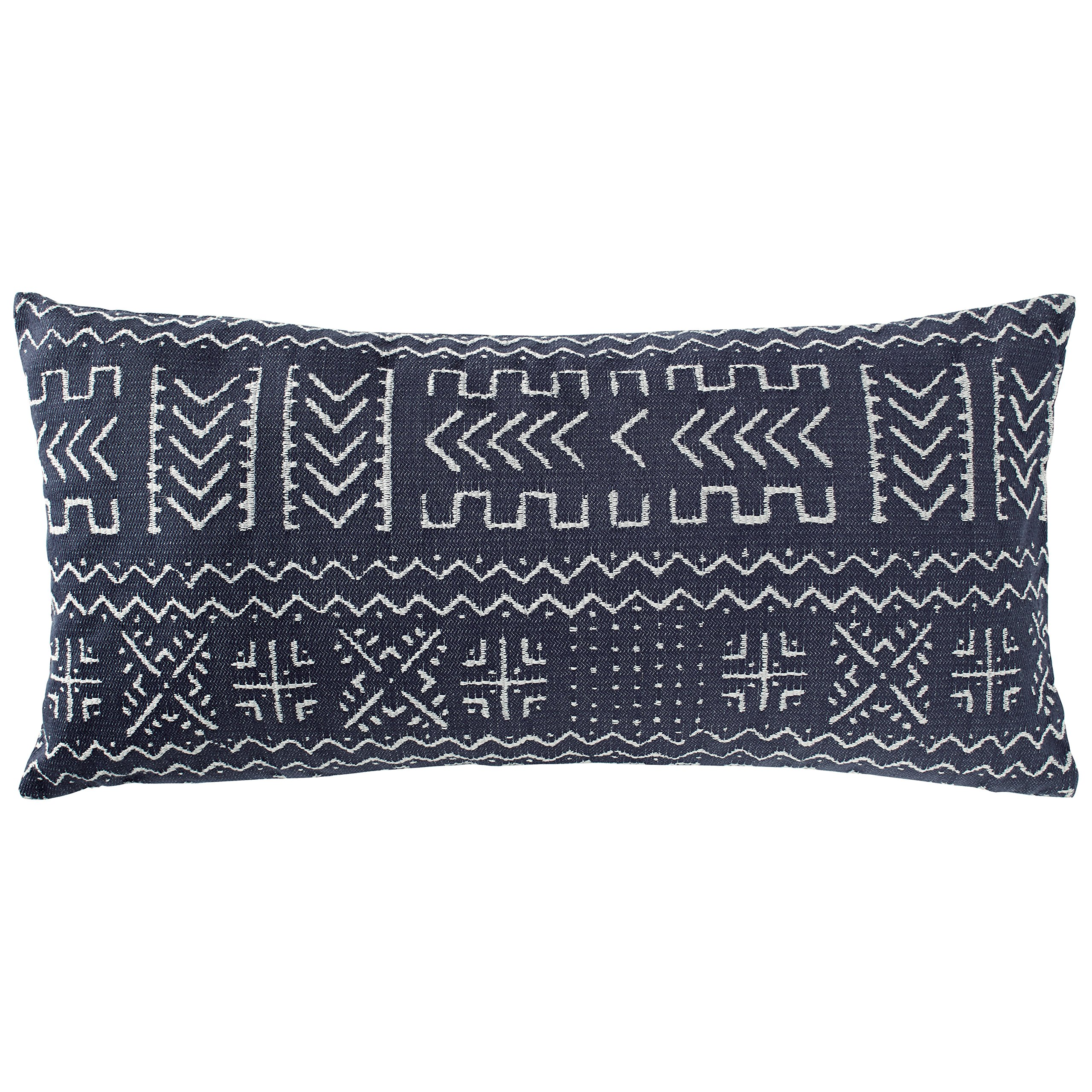 Rivet Mudcloth-Inspired Pillow, 12'' x 24'', Navy