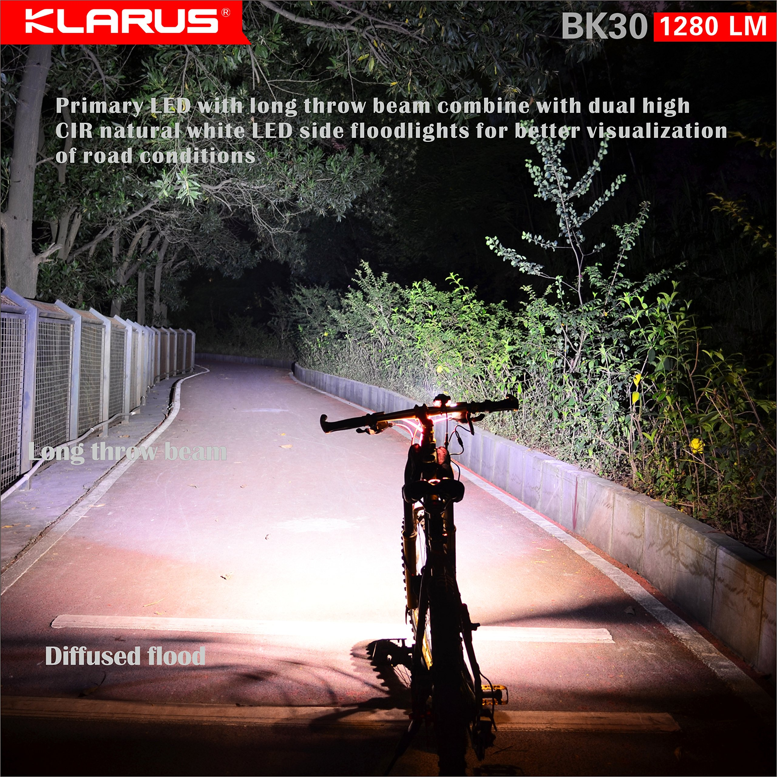 Newest Design Bundle: KLARUS BK30 1280 Lumen, Adjustable Triple Head LED Bikelight, Main light CREE XM-L2 U2, side lights CREE XP-G2, Tools Free, with C2 Charger & two 18650 Rechargeable Batteries by Klarus (Image #2)