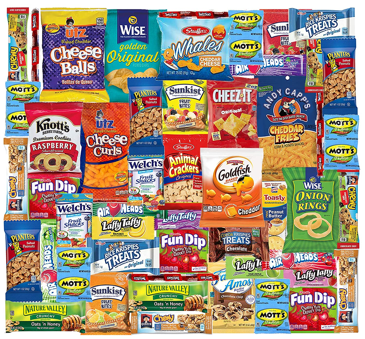 Snacks Box (48 Count) Ultimate Sampler Mixed Box, Cookies Chips Candy Care Package for Office Meetings Schools Friends & Family Military College, Christmas Gifts Baskets, Snack Variety Pack