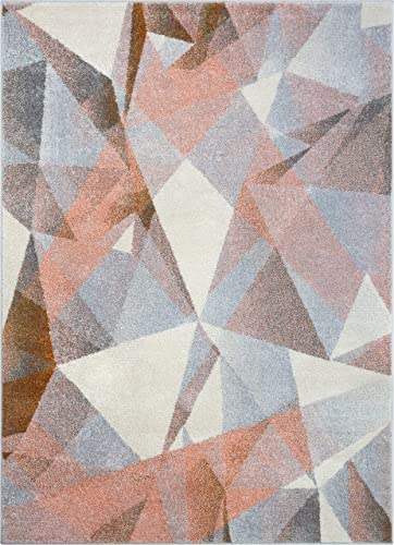Well Woven Barra Blush Pink Multi-Color Modern Geometric Triangle Pattern Abstract 8×11 7 10 x 10 6 Area Rug Contemporary Thick Soft Plush