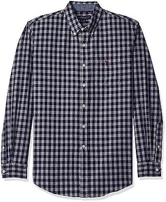 bf6d82b4 U.S. Polo Assn. Men's Long Sleeve Oxford Cloth Button Down Gingham Check  Sport Shirt, Classic Navy, Medium at Amazon Men's Clothing store: