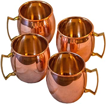 Moscow Mule 100 % Solid Pure Copper Mugs/Cups   Set Of 4 (16