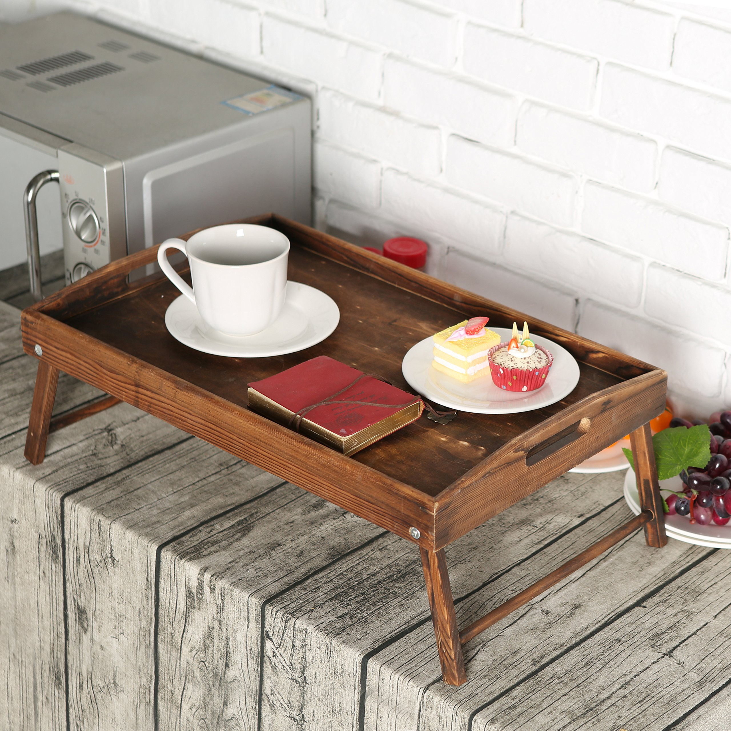 Country Rustic Torched Wood Food Serving Tray, Breakfast in Bed Table with Folding Legs by MyGift (Image #2)