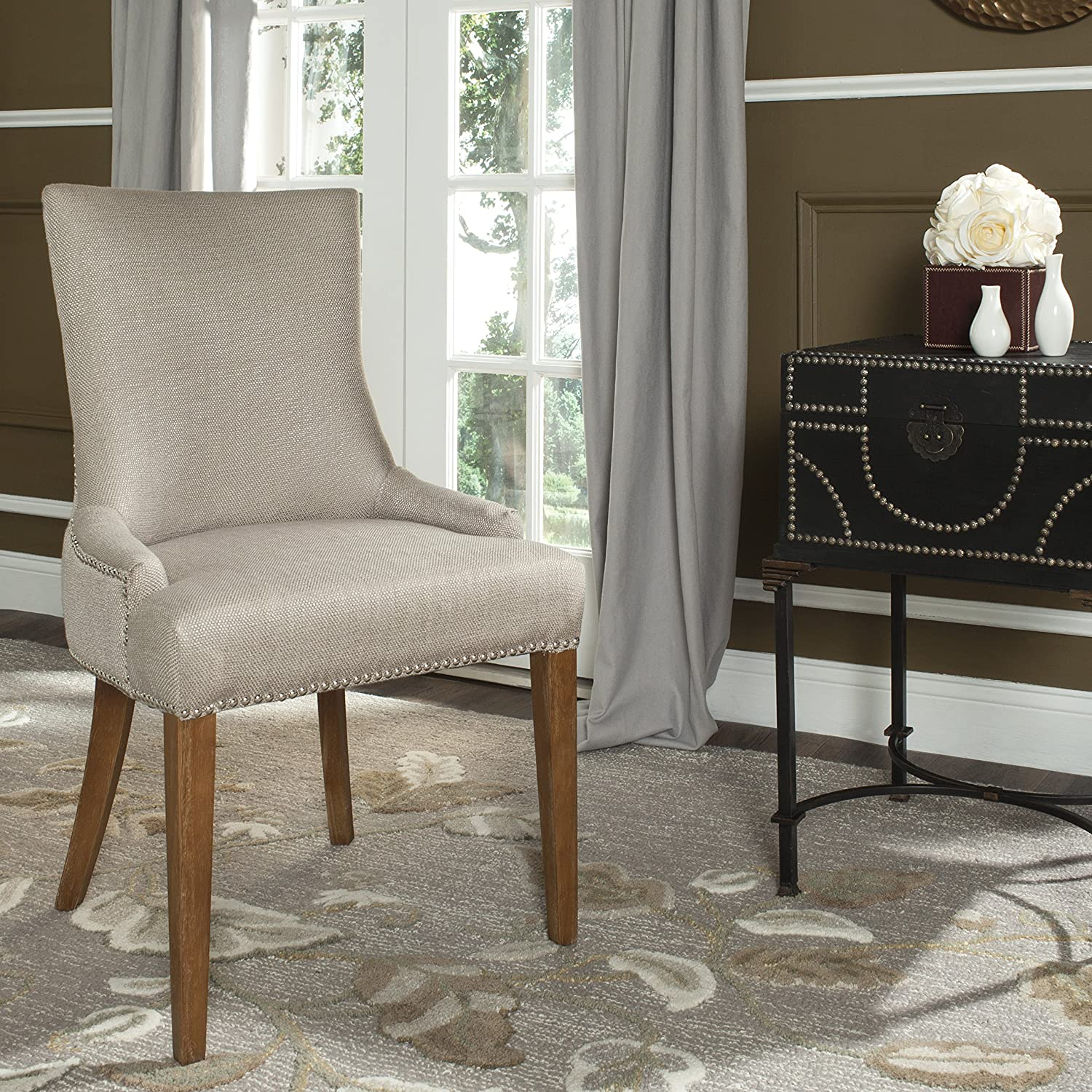Safavieh Mercer Collection Eva Viscose Dining Chair with Trim Nail Head, 24.8-Inch Wide, Beige