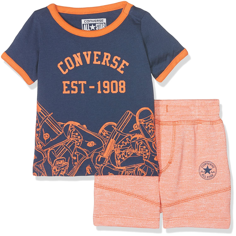 Converse Baby-Jungen T-Shirt Sneaker Toss Tee Set Orange (Wild Mango Marl N2L) 6-9 Monate CNV6487S-N2L-B069