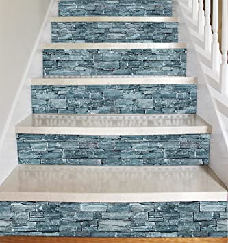 Wallpaper Vinyl Sticker Strips (Dark Grey Stone Style) For Stair Risers/  Stair Steps