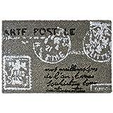 Relaxdays – Felpudo con diseño de Carta Postal para la Entrada de su hogar Hecho de Fibras de Coco y PVC con Medidas 40 x 60 cm Antideslizante Elemento Decorativo, Color Gris