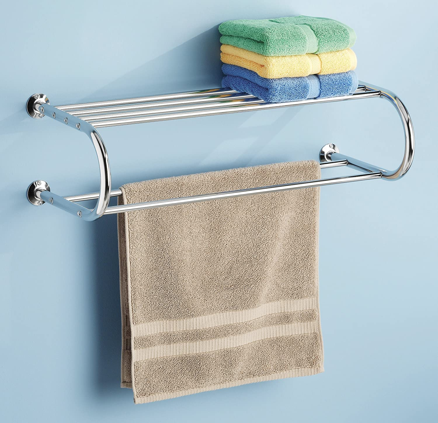 Stainless Steel Double Chrome Shelf and Towel Rack Wall Mount ...