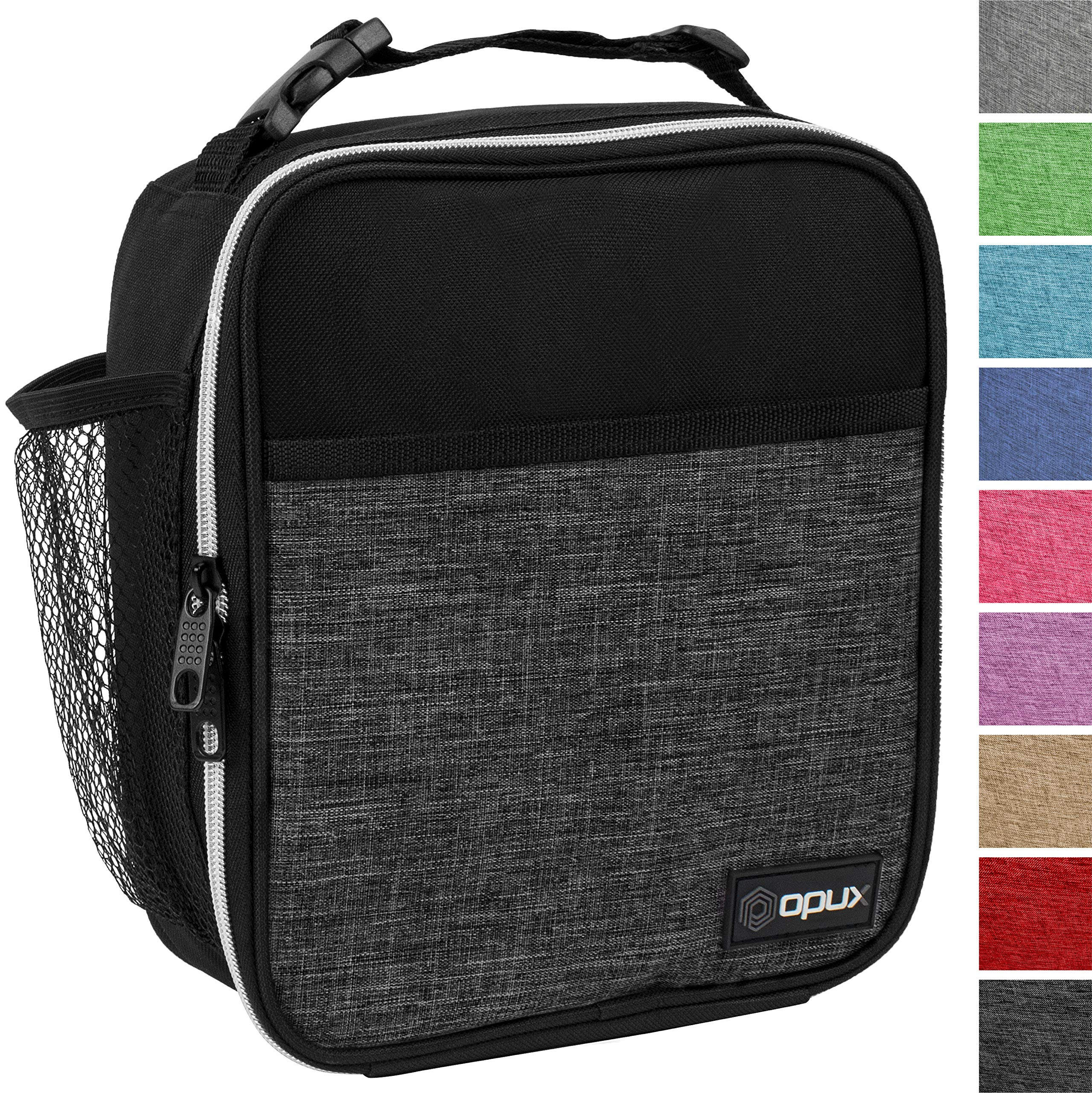 OPUX Premium Insulated Lunch Box | Soft Leakproof School Lunch Bag for Kids, Boys, Girls | Durable Reusable Work Lunch Pail Cooler for Adult Men, Women, Office Fits 6 Cans (Heather Charcoal) by OPUX