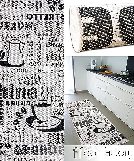 floor factory Tapis de Cuisine Cappuccino Noir/Blanc 80x200 cm - Tapis de  Couloir Pas Cher