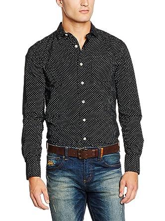 Superdry - Camisa casual - para hombre Negro Worker Diamond Black ...