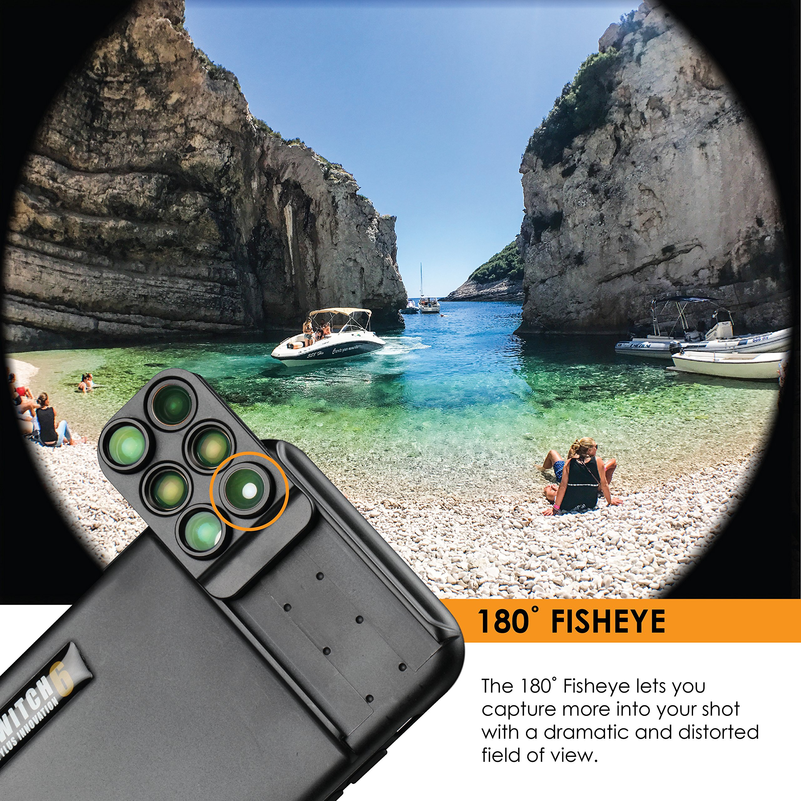 Ztylus Switch 6 for Apple iPhone X: 6 in 1 Dual Optics Lens System (Fisheye, Telephoto, Wide-angle, Macro and Super Macro), Double Layer Protection (Black) by Ztylus (Image #4)