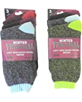 6 Pair Women's Ladies Warm Thermal Socks with Heat Trap Technology Assorted Beautiful Colors, USA Size 9-11