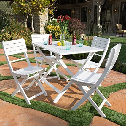 Vicaro | 5 Piece Wood Outdoor Folding Dining Set | Perfect For Patio | With  White