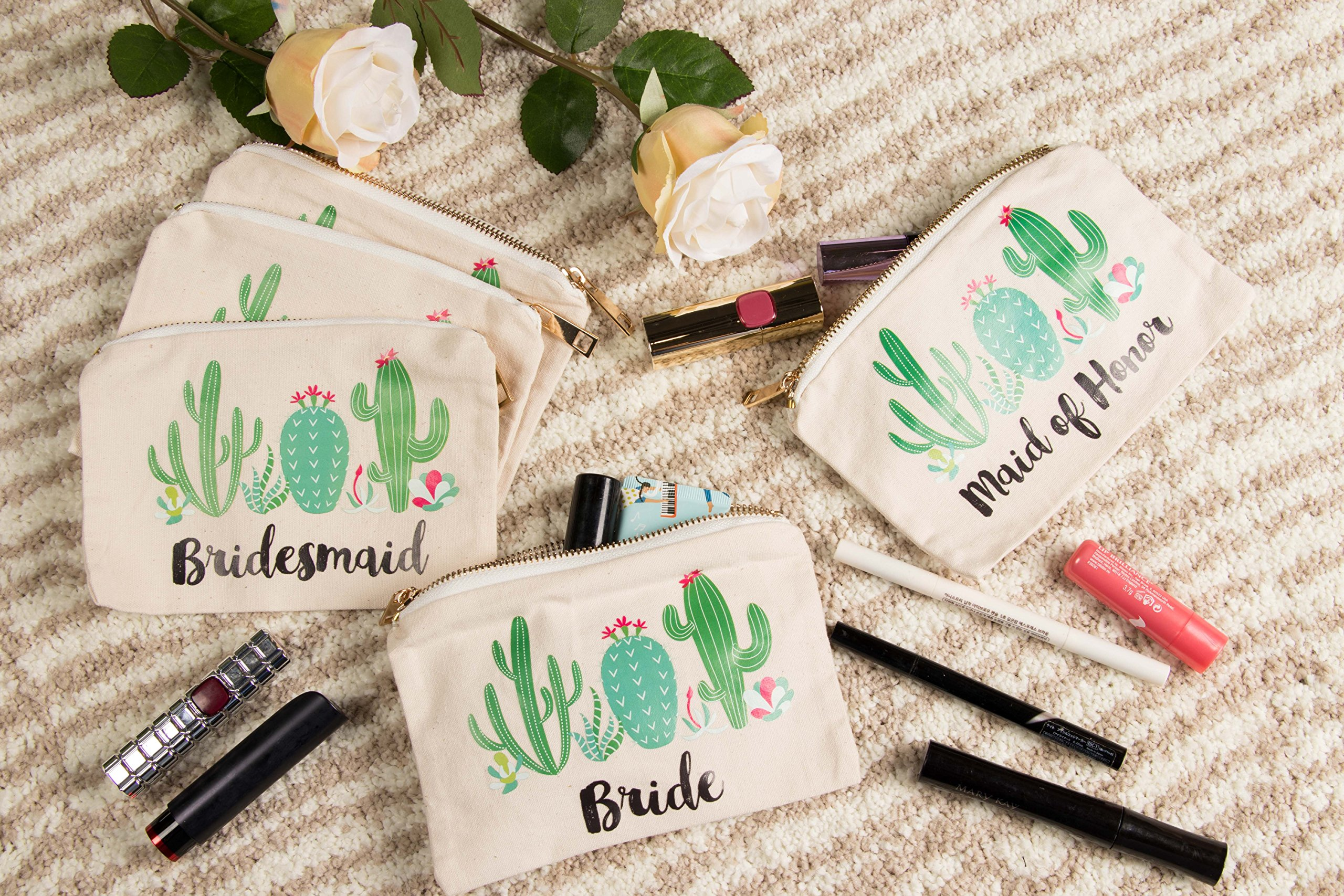 2f542a15e4 Bridal Shower Makeup Bag - 5-Pack Canvas Cosmetic Pouches for Wedding  Favors, Bachelorette Party Gifts, Bride Tribe Accessories, Cactus Design,  7.2 x ...
