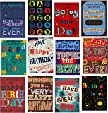 Selective Large Fonts Trendy Design Birthday Greeting Cards & Envelopes for Men, Pack of 12
