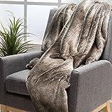 Tuscan Soft Faux Fur Fabric Throw Blanket (Ash White)