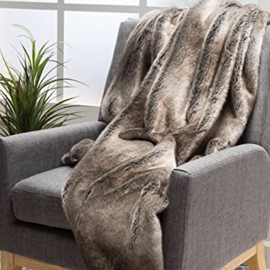Tuscan Soft Faux Fur Fabric Throw Blanket (Ash White)