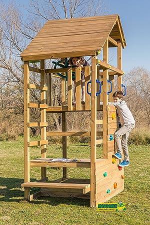 MASGAMES | Parque infantil MASGAMES TEIDE XL | Altura plataforma 150 cm | Rampa de tobogán con conector a manguera | Pared de escalada | Anclajes incluidos | Homologado para uso doméstico |: Amazon.es: Jardín