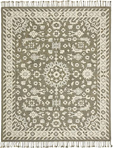 Amazon Brand Stone Beam Barnstead Floral Wool Area Rug, 8 x 10 Foot, Charcoal and Beige