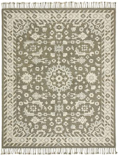 Stone Beam Barnstead Floral Wool Area Rug, 8 x 10 Foot, Charcoal and Beige