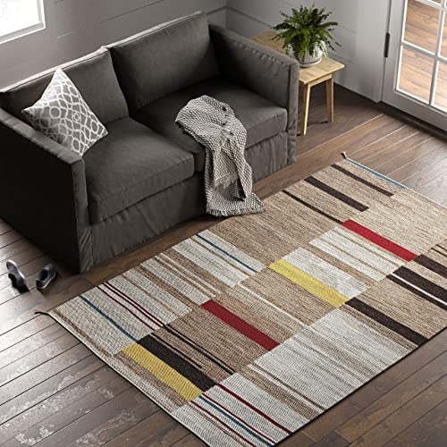 Stone Beam Modern Gabbeh Inspired Wool Area Rug, 5 x 8 Foot, Sand Multi