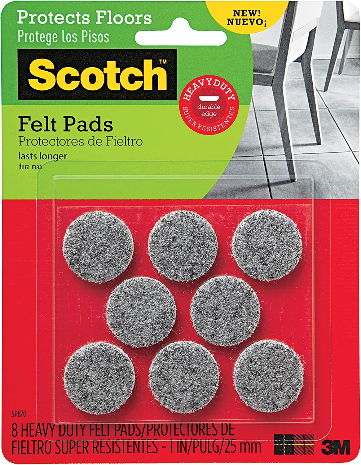 Scotch Brand Heavy Duty Felt Pads, By 3M, Protectors, Round, Gray, 1-Inch Diameter, 8 Pads/Pack, 6-Packs (48 Total)